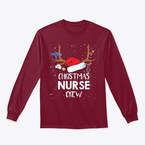Christmas Nurse Crew Santa Hat Reindeer Cardinal Red T-Shirt Front