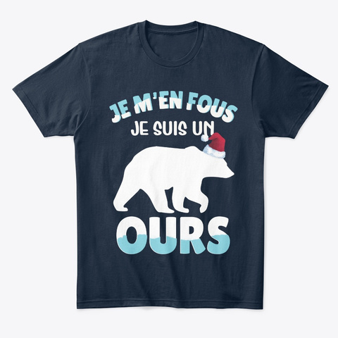 Papa Ours  Je M'en Fous Homme New Navy T-Shirt Front