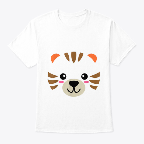 Tiger Face Cute Halloween Animal Costume White T-Shirt Front