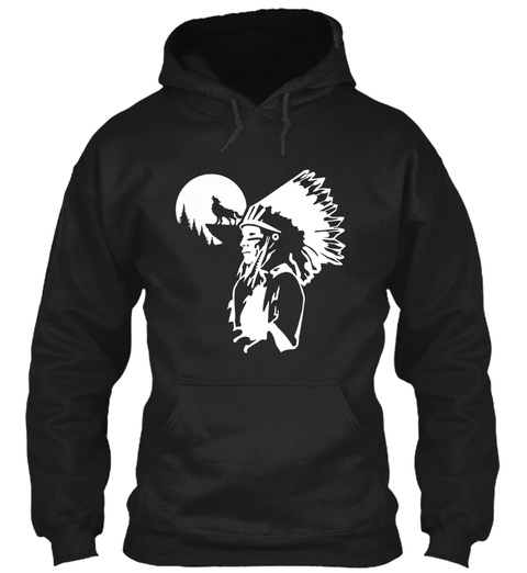 Indian Wolf  Black T-Shirt Front