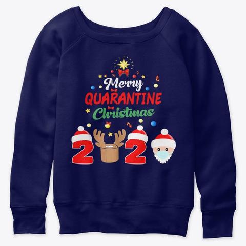 Merry Quarantine Christmas Xmas Pajamas Navy  T-Shirt Front