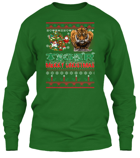 Tiger   Merry Christmas Irish Green T-Shirt Front