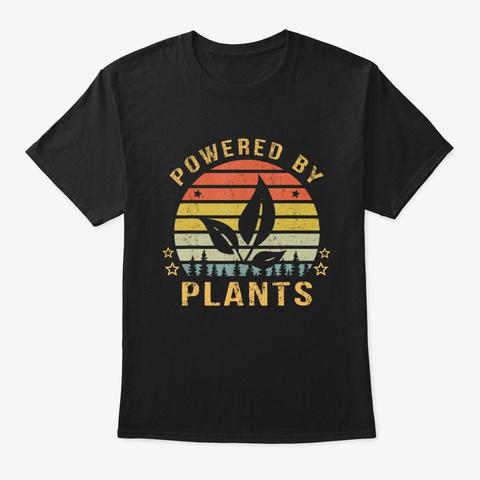 Powered Plants Vegan Vegetarian Lovers Black T-Shirt Front