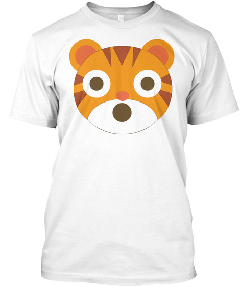 Tiger Emoji Shocked And Surprised Look White T-Shirt Front