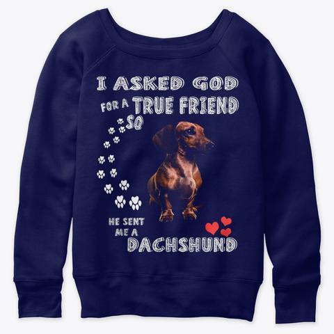 Cute Dachshund Doxie Girl Dachshund Mom Navy  T-Shirt Front