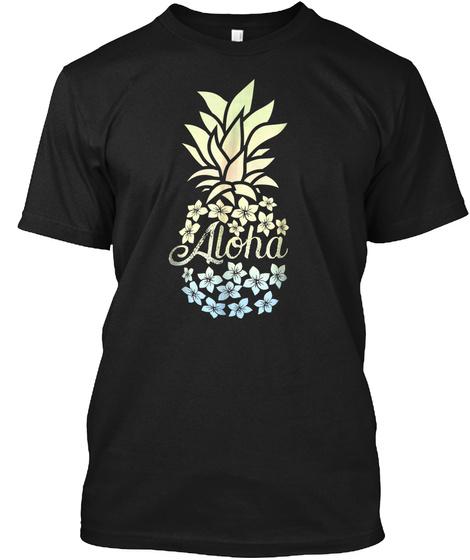 Pineapple Flowers Shirt Women Aloha Hawa Black T-Shirt Front