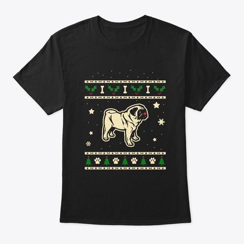 Christmas Pug Gift Black T-Shirt Front