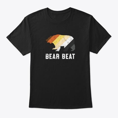 Gay Bear Beat Retro Pride Parade Lgbtq G Black T-Shirt Front