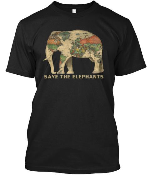 Save The Elephants Black T-Shirt Front