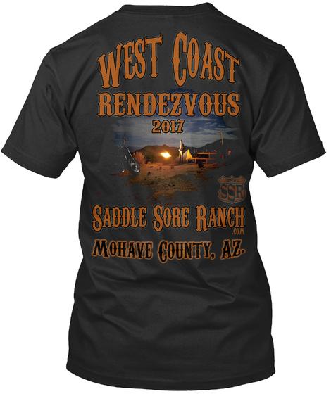 West Coast Rendezvous 2017 Saddle Sore Mohave County Az Black T-Shirt Back