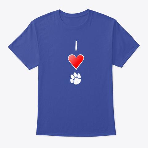 I Love Tigers (Paw) Deep Royal T-Shirt Front
