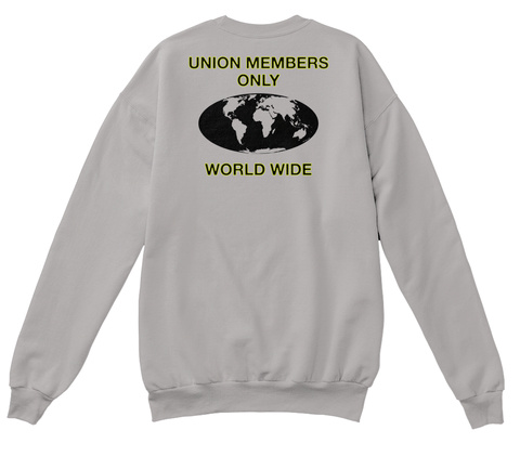 Union Members Only Union Members Only Worldwide On Facebook Light Steel  T-Shirt Back