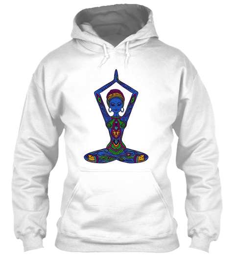 Hoodie Yoga Colorful Girl White T-Shirt Front