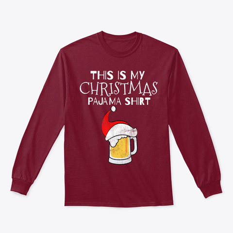This Is My Christmas Pj Beer Shirt Funny Cardinal Red T-Shirt Front