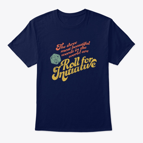 """Funny Rpg Game """"Roll For Initiative"""" D20 Navy T-Shirt Front"""