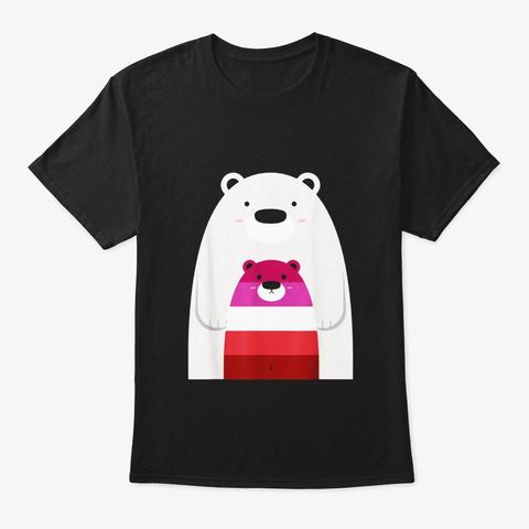 Mama And Baby Bear Shirt Lgbt Lesbian Black T-Shirt Front