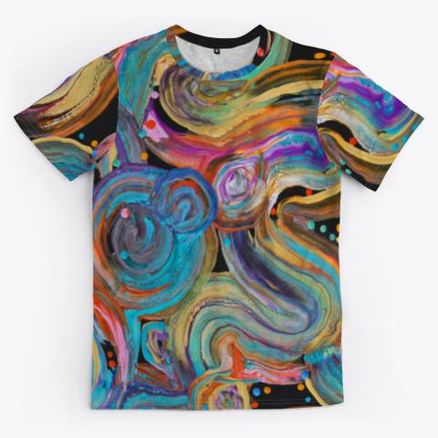 Wavy  Swipe  Black T-Shirt Front
