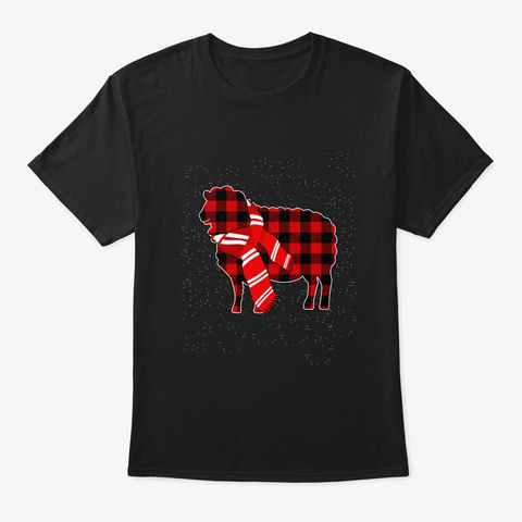 Merry Sheep Christmas T Shirt Black T-Shirt Front