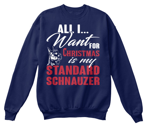 Standard Schnauzer Ugly Christmas Sweate Navy  T-Shirt Front