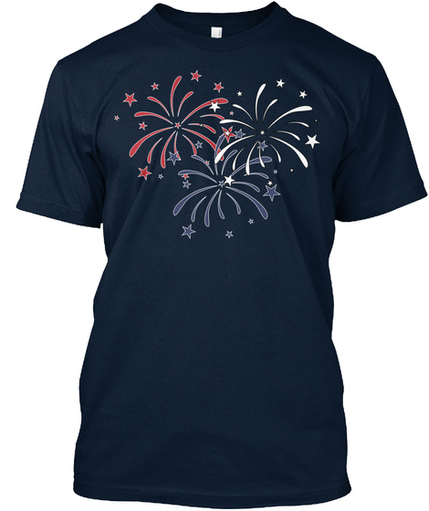 Fireworks Independence Day 4th July Rwb New Navy T-Shirt Front
