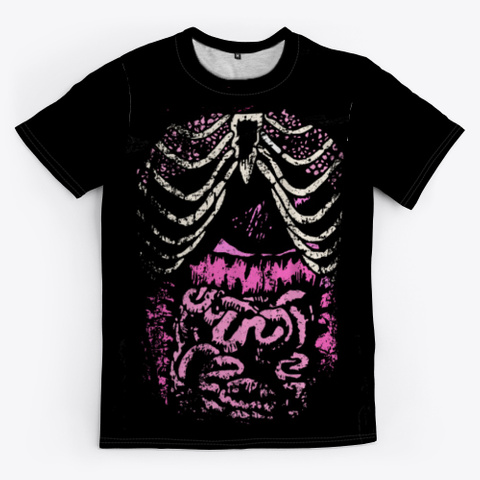 """Ribcage And Guts"" Emo/Scene Design Black T-Shirt Front"