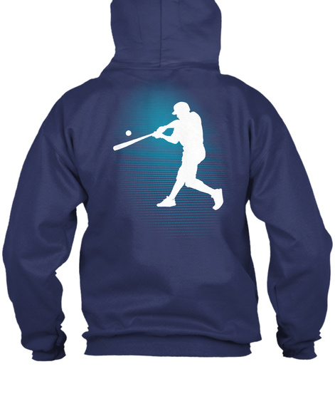 Zip Hoodie Baseball Sports Navy  T-Shirt Back