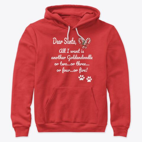 Dear Santa Letter Goldendoodle Dog Red T-Shirt Front