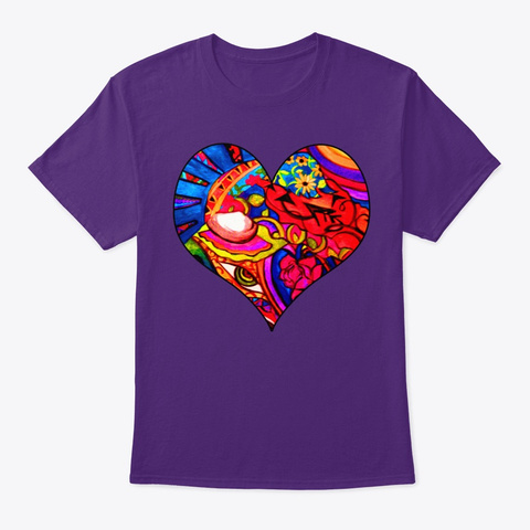Abstract Nature Painted Collage Heart  Purple T-Shirt Front
