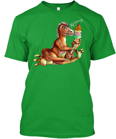 Xylophoney | Ice Cream Raptor Kelly Green T-Shirt Front