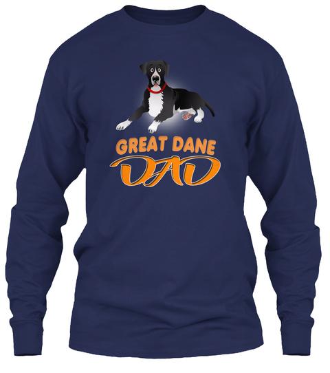 Black Great Dane Dog Laying Dad Navy T-Shirt Front