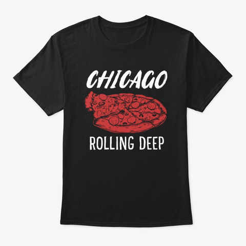 Chicago Rolling Deep Dish Pizza Vintage Black T-Shirt Front