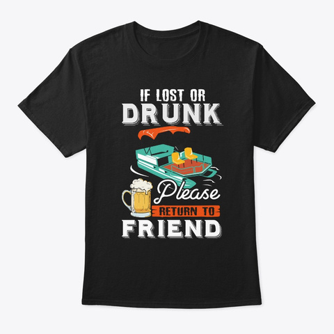 Funny Pontoon Friend Apparel Black T-Shirt Front