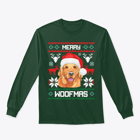Golden Retriever Gift For Merry Dogmas Forest Green T-Shirt Front