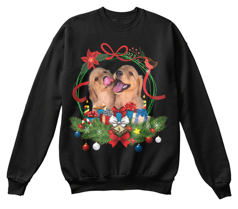 Dog Lover Ugly Christmas Sweater Black T-Shirt Front