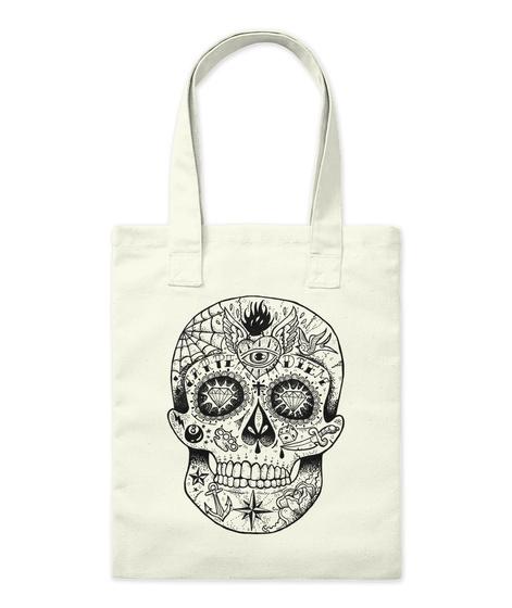 Tattooed Skull Tote Bag Natural T-Shirt Front