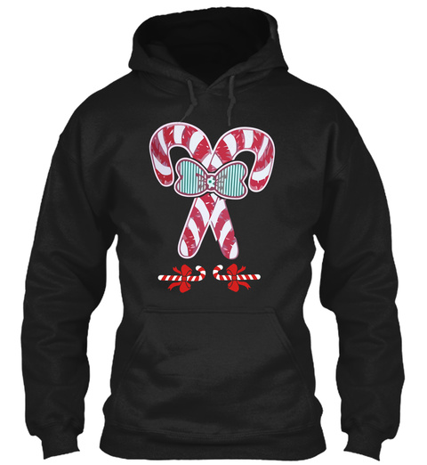 Candy Cane T Shirt Christmas Black T-Shirt Front