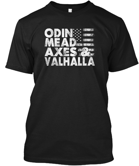 Odin Mead Axes & Valhalla Black T-Shirt Front