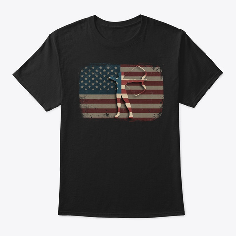 Vintage American Flag Archery Gift Black T-Shirt Front