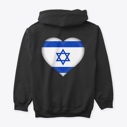 Israel Heart Hoodie Black T-Shirt Back