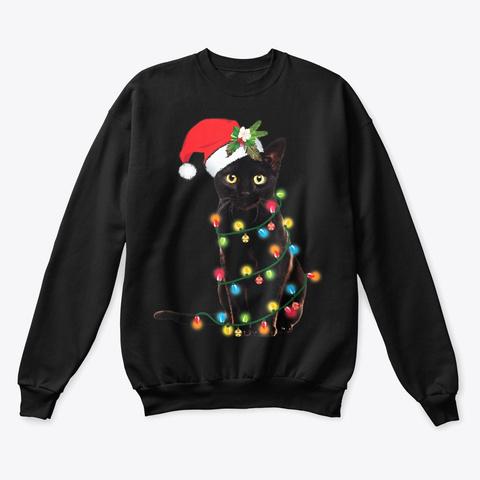 Black Cat Christmas Lights T Shirt Black T-Shirt Front