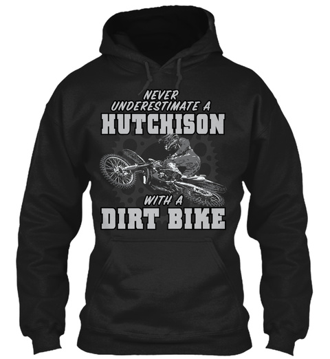 Hutchison With A Dirt Bike Black T-Shirt Front
