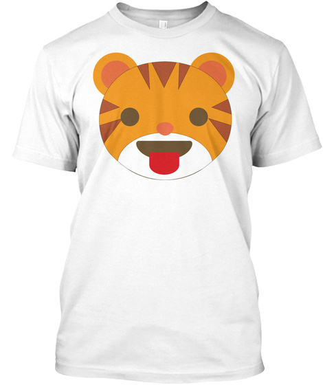 Tiger Emoji Tongue Out White T-Shirt Front