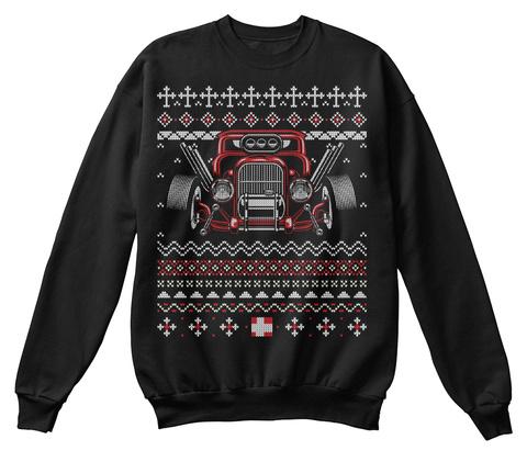Custom Hot Rod Ugly Christmas Sweater Black T-Shirt Front