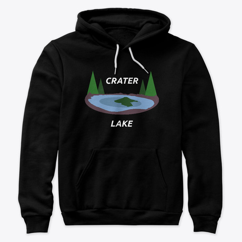 Crater Lake Oregon Design Black T-Shirt Front
