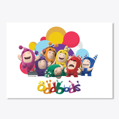 Oddbods With Colourful Circular Art Wall White Camiseta Front