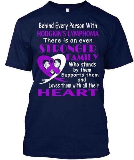 Hodgkin's Lymphoma Awareness Shirt Navy T-Shirt Front