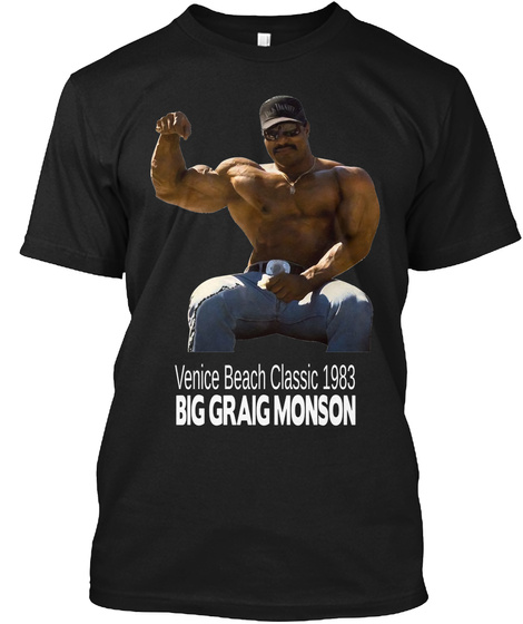 Venice Beach Classic 1983 Big Graig Monson Black T-Shirt Front