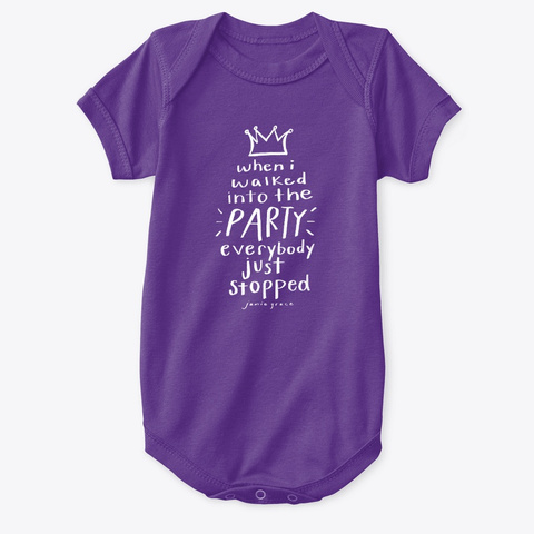 """My Birth Story"" Princess Onesie Purple T-Shirt Front"