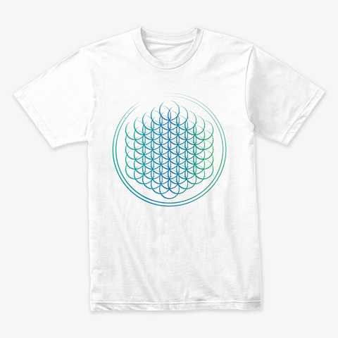 Flower Of Life Series   Blue Green White T-Shirt Front