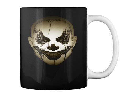 Scary Clown Halloween Mug Black T-Shirt Back